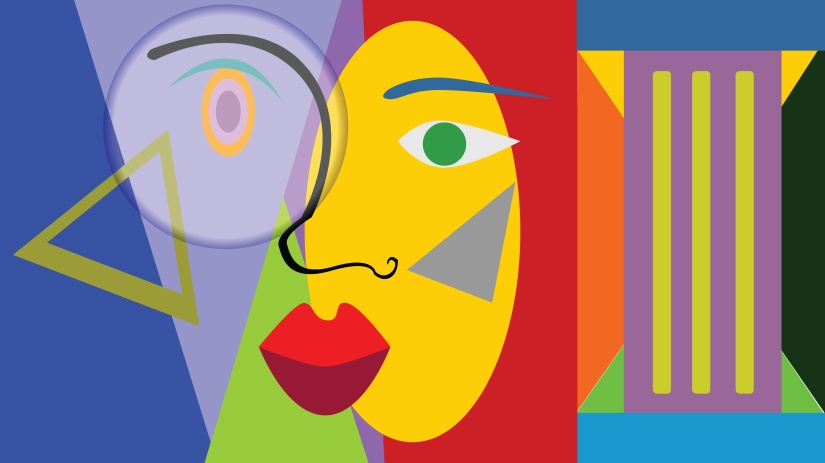 Abstract colorful background of the person who explores the world